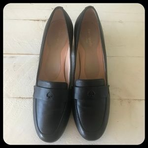 Kate Spade Black Leather Spade Loafer Block Heel
